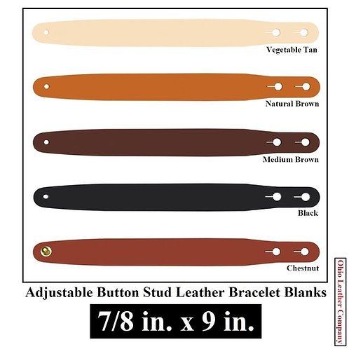 7/8 in. x 9 in. Adjustable Button Stud Leather Bracelet Blank
