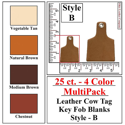 25 ct. - 4 Color - MultiPack - Leather Cow Tag Key Fob Blanks - Style B