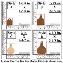 Leather Cow Tag Key Fob Blanks Size Comparison - Leather Cattle Tag Key Fob Blanks Size Comparison - OhioLeatherCompany.com -2