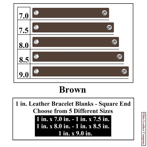 1 in. Leather Bracelet Blank Square End 1 Snap BROWN