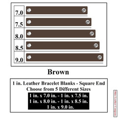 1 in. Leather Bracelet Blanks - Square End - Brown - OhioLeatherCompany.com