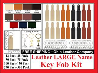 Leather LARGE Name Key Fob Kit - Ohio Leather Company.com
