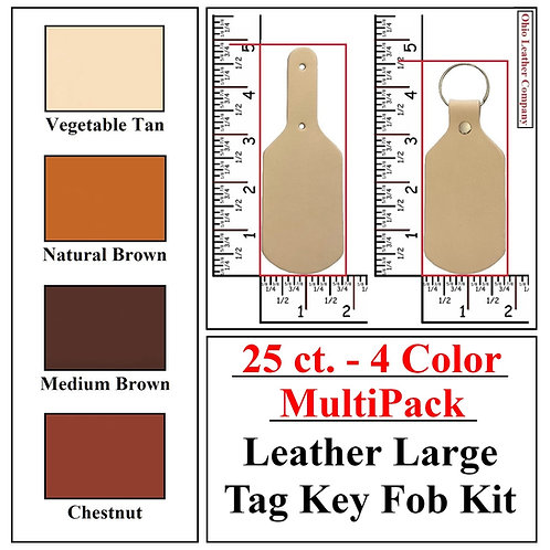 25 ct. - 4 Color - MultiPack - Leather Large Tag Key Fob Kit