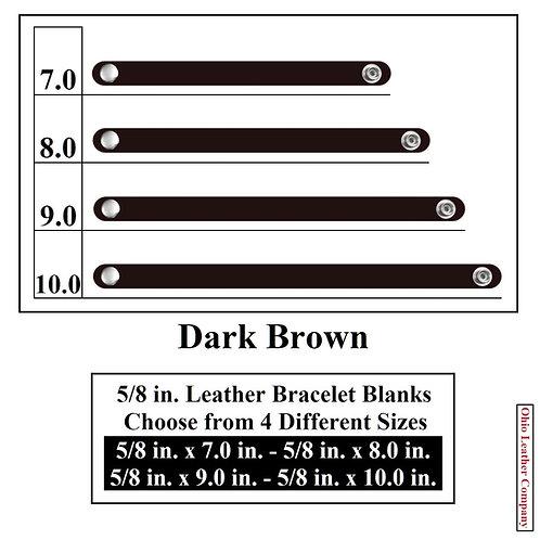 5/8 in. Leather Bracelet Blank Round End 1 Snap DARK BROWN
