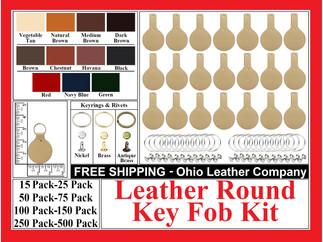 Leather Round Key Fob Kit - Ohio Leather Company.com