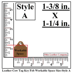 Leather Cow Tag Key Fob Blank Work Space Size - Leather Cattle Tag Key Fob Blank Work Space Size - Style A - OhioLeatherCompany.com