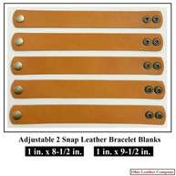 1 in. x 8.5 in - 1 in. x 9.5 in. - Adjustable 2 Snap Leather Bracelet Blanks - Adjusts to 2 Sizes - OhioLeatherCompany.com -01