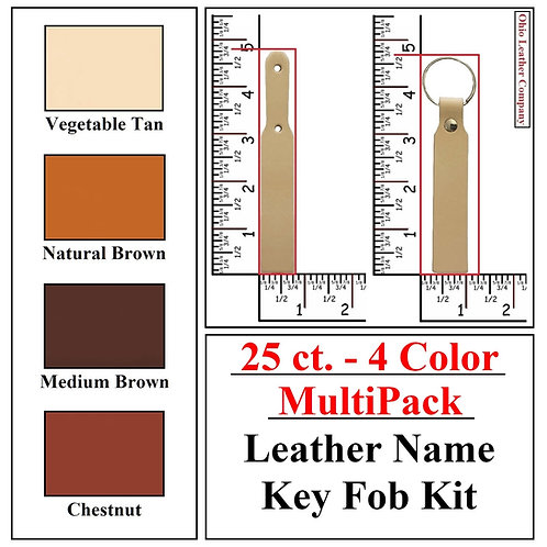 25 ct. - 4 Color - MultiPack - Leather Name Key Fob Kit
