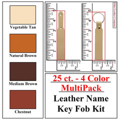 25 ct.- 4 Color MultiPack Leather Name Key Fob Kit - OhioLeatherCompany