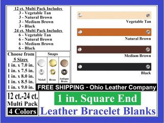 Bracelet Blanks - 1 in. Square End Leath