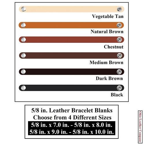 6 Color - MultiPack-5/8 in. Leather Bracelet Blank