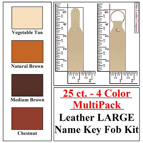 25 ct. - 4 Color - MultiPack - Leather LARGE Name Key Fob Kit