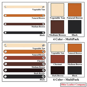 4 Color & 6 Color MultiPacks - Leather Bracelet Blanks - Assorted Colors - Ohio Leather Company