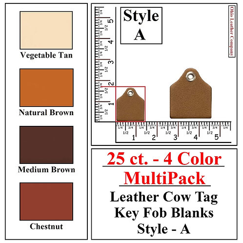 25 ct. - 4 Color - MultiPack - Leather Cow Tag Key Fob Blanks - Style A