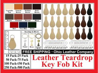 Leather Teardrop Key Fob Kit - Ohio Leather Company.com