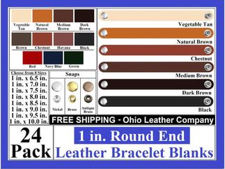 Bracelet Blanks - 1 in. Round End Leathe