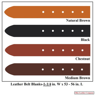 Leather Belt Blanks 1-1-4 in. x 53 - 56 in. - OhioLeatherCompany.com