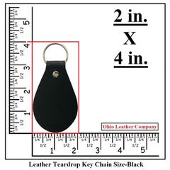 Leather Teardrop Keychain Size - OhioLeatherCompany.com