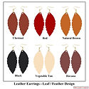 Leather Leaf Earrings - Leather Feather Earrings - Assorted Colors - Ohio Leather Company