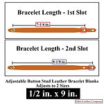 Adjustable Buttton Stud Leather Bracelets - 1/2 in. x 9 in. - Adjusts to 2 Sizes - Color Natural Brown - Ohio Leather Company