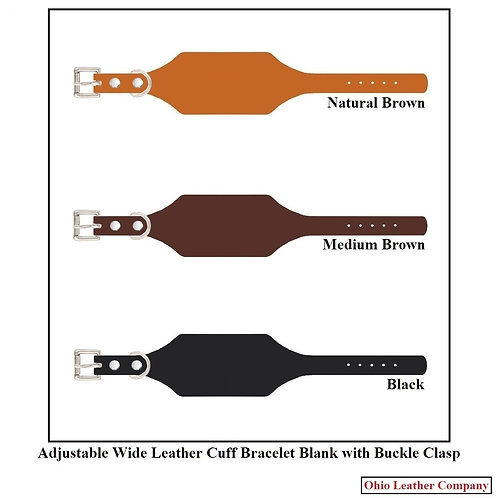 3 Color - MultiPack - Adjustable Wide Leather Cuff Bracelet Blank with Buckle
