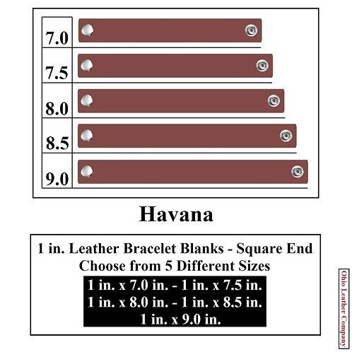 1 in. Leather Bracelet Blank Square End 1 Snap HAVANA