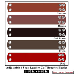 1-1/2 in. x 9-1/2 in. Adjustable 4 Snap Leather Bracelet Blanks - OhioLeatherCompany.com -2