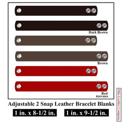 1 in. x 8-1/2 in - 1 in. x 9-1/2 in. Adjustable 2 Snap Leather Bracelet Blanks - Adjusts to 2 Sizes - OhioLeatherCompany.com -3