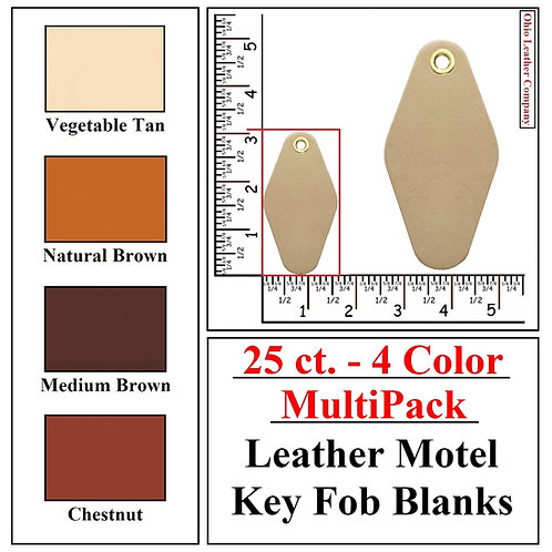 25 ct. - 4 Color - MultiPack - Leather Motel Key Fob Blanks