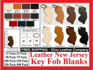 Leather New Jersey Key Fob Blank - Ohio Leather Company.com