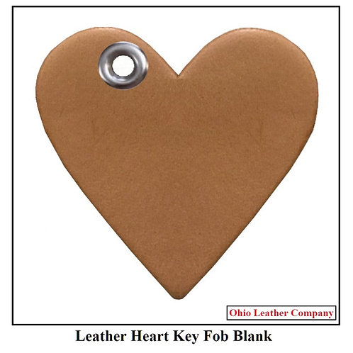 Leather Heart Key Fob Blank