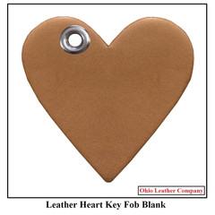Leather Heart Key Fob Blank - Leather Heart Shaped Key Fob Blank - OhioLeatherCompany.com