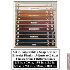 5/8 in. Adjustable 2 Snap Leather Bracelet Blanks - Adjusts to 2 Sizes - OhioLeatherCompany.com -3