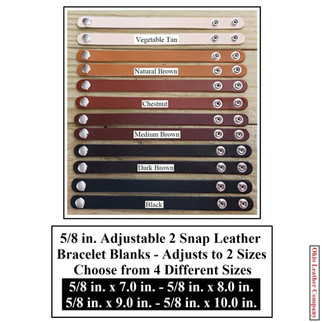 5/8 in. Adjustable 2 Snap Leather Bracelet Blanks - 6 Color MultiPack - OhioLeatherCompany.com