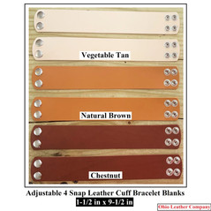 1-1/2 in. x 9-1/2 in. Adjustable 4 Snap Leather Bracelet Blanks - OhioLeatherCompany.com -3