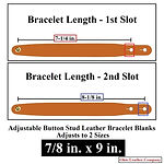 Adjustable Buttton Stud Leather Bracelets - 7/8 in. x 9 in. - Adjusts to 2 Sizes - Color Natural Brown - Ohio Leather Company