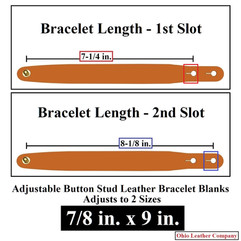 Adjustable Buttton Stud Leather Bracelet Blanks - 7/8 in. x 9 in. - Adjusts to 2 Sizes - OhioLeatherCompany.com
