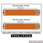 1-1/2 in. x 9-1/2 in. - Adjustable 2 Snap Leather Braclet Blanks - Adjusts to 2 Sizes - Sizes - Ohio Leather Company