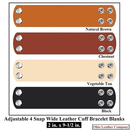 2 in. x 9-1/2 in. Adjustable Wide Leather Cuff Bracelet Blank 4 Snaps
