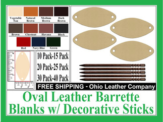 Leather Oval Barrette Blanks with Decora