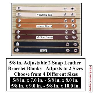 5/8 in. Adjustable 2 Snap Leather Bracelet Blanks - OhioLeatherCompany.com