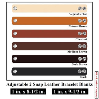 1 in. x 8-1/2 & 1 in. x 9-1/2 in. - Adjustable 2 Snap Leather Bracelet Blanks - 6 Color MultiPack - OhioLeatherCompany.com