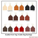 Leather Cow Tag Earrings - Leather Cattle Tag Earrings - Assorted Colors - Ohio Leather Company