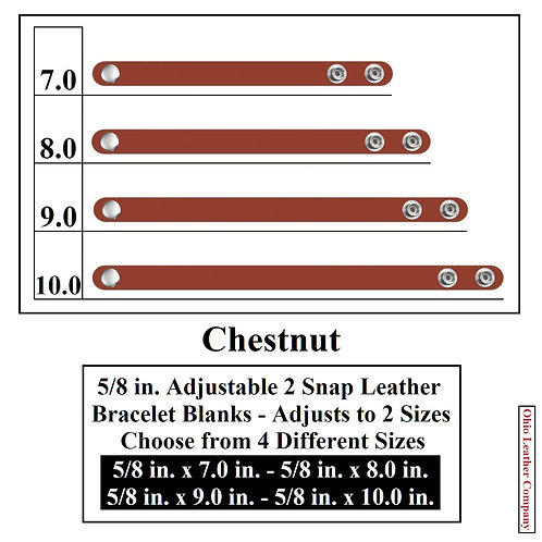 5/8 in. Adjustable Leather Bracelet Blank 2 Snaps CHESTNUT