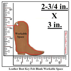 Leather Boot Key Fob Blank Workable Space - OhioLeatherCompany.com