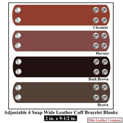 2 in. x 9-1/2 in. Adjustable 4 Snap Leather Bracelet Blanks - OhioLeatherCompany.com -2