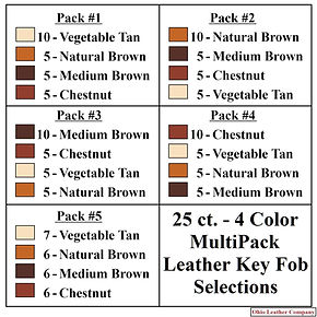 25 ct. - 4 Color MultiPack Selection for Leather Key Fobs -Ohio Leather Company
