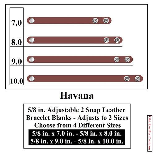 5/8 in. Adjustable Leather Bracelet Blank 2 Snaps HAVANA