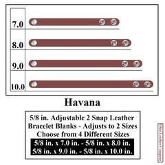 5/8 in. Adjustable 2 Snap Leather Bracelet Blanks - Adjusts to 2 Sizes - Havana - OhioLeatherCompany.com
