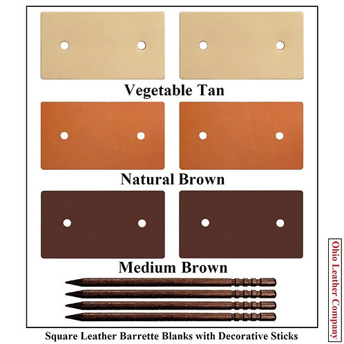 3 Color - MultiPack - Square Leather Barrette Blanks with Decorative Stick